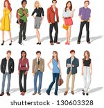 group of fashion cartoon young... | Shutterstock .eps vector #130603328