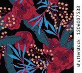 beautiful seamless floral... | Shutterstock .eps vector #1306037533