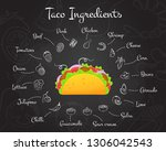 mexican fastfood tacos menu... | Shutterstock .eps vector #1306042543
