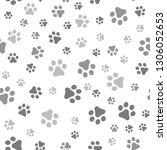 dog paw seamless pattern vector ... | Shutterstock .eps vector #1306052653