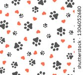 dog paw seamless pattern with... | Shutterstock .eps vector #1306052680