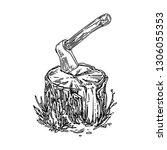 Stump With Axe. Sketch....
