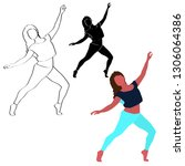 dancing girl   modern dance  on ... | Shutterstock .eps vector #1306064386