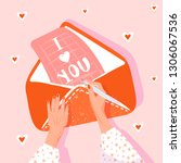 valentine's day greeting card.... | Shutterstock .eps vector #1306067536