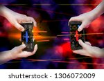 two pairs of hands hold... | Shutterstock . vector #1306072009