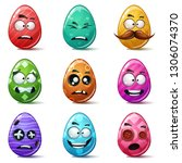 happy easter  set color egg.... | Shutterstock .eps vector #1306074370
