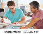 two men meeting in creative...   Shutterstock . vector #130607549