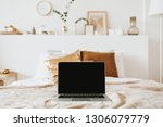 relax  chill with laptop in bed ... | Shutterstock . vector #1306079779