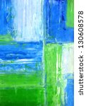Small photo of Blue and Green Abstract Art Painting