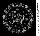 holly jolly quote with star and ... | Shutterstock .eps vector #1306087870