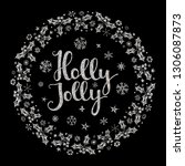 holly jolly quote with star and ... | Shutterstock .eps vector #1306087873