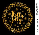 holly jolly quote with stars... | Shutterstock .eps vector #1306087876