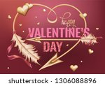 valentine's day card with gold... | Shutterstock .eps vector #1306088896