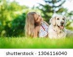 little girl with golden... | Shutterstock . vector #1306116040