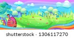 mushroom houses in the garden... | Shutterstock .eps vector #1306117270