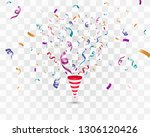 lots of colorful tiny confetti... | Shutterstock .eps vector #1306120426