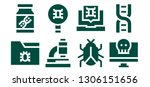 microbiology icon set. 8 filled ... | Shutterstock .eps vector #1306151656