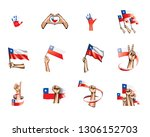 chile flag and hand on white... | Shutterstock .eps vector #1306152703