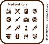 medieval icon set. 16 filled... | Shutterstock .eps vector #1306153129