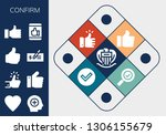 confirm icon set. 13 filled... | Shutterstock .eps vector #1306155679