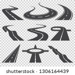 curved roads vector set.... | Shutterstock .eps vector #1306164439