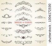 vector set of ornate... | Shutterstock .eps vector #1306172530