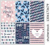 valentine's day greeting cards... | Shutterstock .eps vector #1306173679