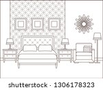 bedroom interior. hotel room.... | Shutterstock . vector #1306178323