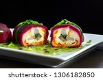 Stock photo layered salad with herring beets carrots onions potatoes and eggs close up on a plate herring 1306182850
