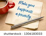 make your happiness a priority  ... | Shutterstock . vector #1306183033
