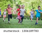a group of happy children of... | Shutterstock . vector #1306189783