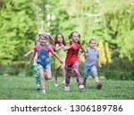 a group of happy children of... | Shutterstock . vector #1306189786