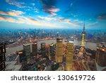 bird's eye view of shanghai in... | Shutterstock . vector #130619726