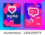 xoxo blend written phrase with... | Shutterstock .eps vector #1306200979
