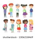 vector illustration of pupils... | Shutterstock .eps vector #1306218469