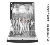 open dishwasher with dishes... | Shutterstock . vector #1306222390