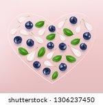 heart from blueberries  leaves... | Shutterstock .eps vector #1306237450