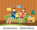 family sitting together | Shutterstock .eps vector #1306245616
