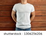 mockup clothes. muscular fit... | Shutterstock . vector #1306256206