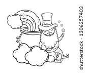st patricks day leprechaun with ... | Shutterstock .eps vector #1306257403