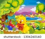 cartoon spring nature... | Shutterstock . vector #1306260160