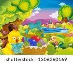 cartoon spring nature... | Shutterstock . vector #1306260169