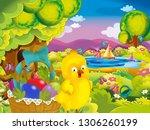 cartoon spring nature... | Shutterstock . vector #1306260199