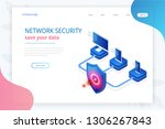 isometric protection network... | Shutterstock .eps vector #1306267843