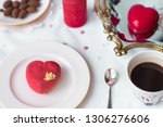 mousse dessert in the shape of... | Shutterstock . vector #1306276606