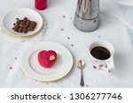 mousse dessert in the shape of... | Shutterstock . vector #1306277746
