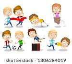 happy smiling kids spending fun ... | Shutterstock .eps vector #1306284019