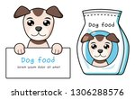 dog holding white board and pet ... | Shutterstock .eps vector #1306288576