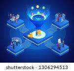 isometric online funnel... | Shutterstock .eps vector #1306294513