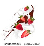 fresh strawberry in chocolate... | Shutterstock . vector #130629560